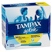 Tampax Pearl Active Plastic Tampons, Regular Absorbency Unscented
