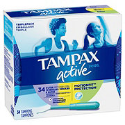 Tampax Pearl Active Plastic Tampons Triple-Pack (Light/Regular/Super) Absorbency Unscented