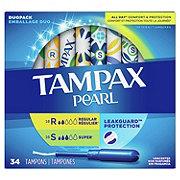 Tampax Pearl Duopack (Regular/Super) Plastic Tampons Unscented