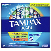 Tampax Pearl Triple Pack (Regular/Super/Super Plus) Plastic Tampons Unscented