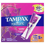 Tampax Radiant Super Plus Unscented Plastic Tampons