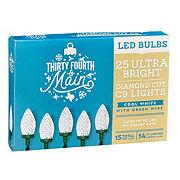 Thirty Fourth & Main 25 Cool White LED Ultra Bright Diamond Cut C9 Lights