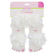 Tiny Treasure White Flower Set Headwrap & Foot Toppers