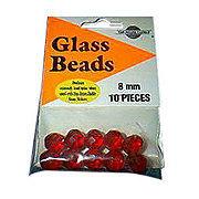 Top Brass Red Glass Bead 10 CT