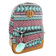 Trailmaker Pink and Teal Print With Vinyl Bottom Backpack