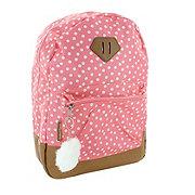 Trailmaker Pink Dots Girls Print With Vinyl Bottom Backpack