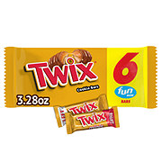 Twix Caramel Fun Size Chocolate Cookie Bar Candy, 6 ct