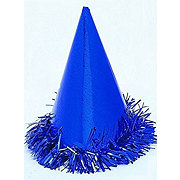 Unique Blue Fringed Foil Hats