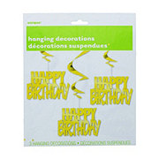 Unique Happy Birthday Gold Hanging Swirls