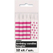 Unique Hot Pink Stripes & Dots Birthday Candles