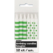 Unique Lime Green Stripes & Dots Birthday Candles