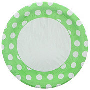 Unique Lime Green with White Dots Plates,  9 inch