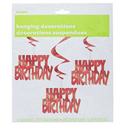 Unique Red Happy Birthday Hanging Swirls