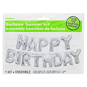 Unique Silver Happy Birthday Balloon Banner Kit