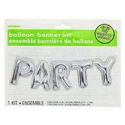 Unique Silver Party Balloon Banner Kit
