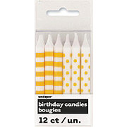 Unique Yellow Stripes & Dots Birthday Candles