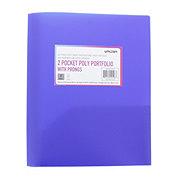 Unison 2 Pocket Poly Portfolio with Prongs, Blue