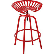United General Supply Tractor Seat Swivel Stool Red