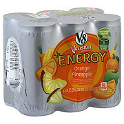 V8 V-Fusion +Energy Vegetable and Fruit + Energy Orange Pineapple Beverage Blend 6 pk Cans