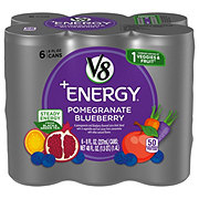 V8 V-Fusion +Energy Vegetable and Fruit Pomegranate Blueberry Beverage Blend 6 pk Cans