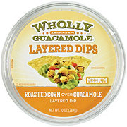 Wholly Guacamole Roasted Corn Over Guacamole Layered Dip