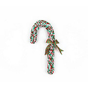 Woof and Whiskers Candy Cane Rope Red Green Plush Dog Toy