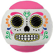 Woof And Whiskers Skull Tennis Ball Pink White
