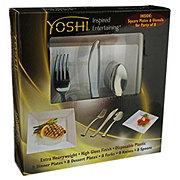 Yoshi 40 Piece Disposable Square Plates & Utensils