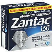 Zantac 150 Maximum Strength Acid Reducer Cool Mint Tablets