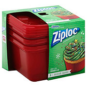 Ziploc Holiday Medium Square Red Containers