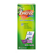Zyrtec Children's Dye-Free Sugar-Free Grape Allergy Syrup