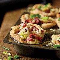 Bacon and Leek Mini Tarts with Gruyere