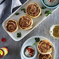 Buffalo Turkey Sausage Pinwheels