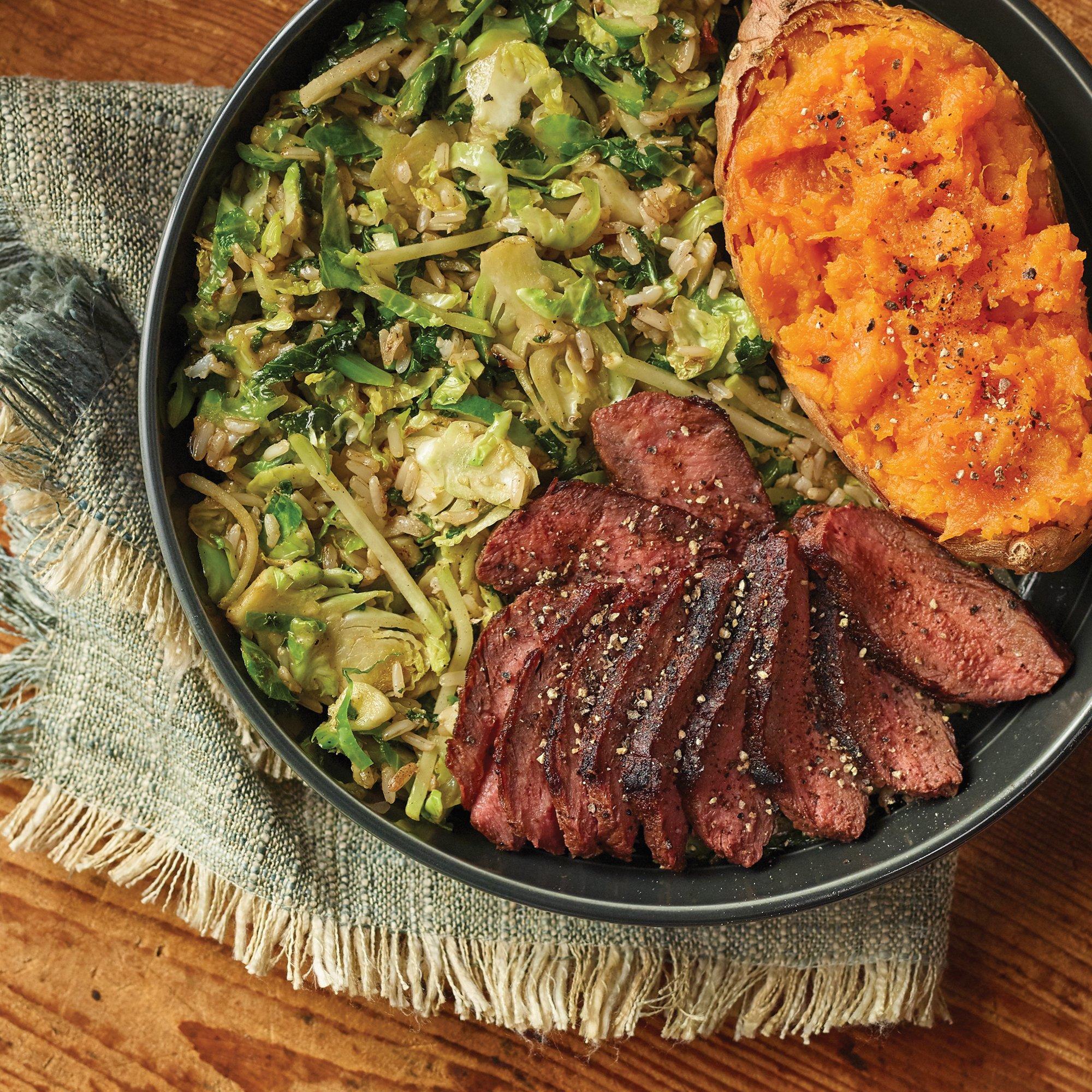 Smokehouse Brussels Nourish Bowl with Seared Flat Iron Steak