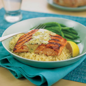 Grilled keta salmon with tarragon caper sauce recipe from heb ccuart Choice Image