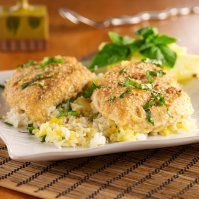 Cashew-Crusted Chicken Over Pineapple Rice