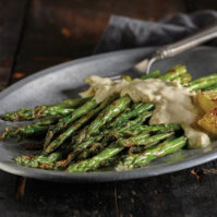 Grilled Asparagus with Yogurt Balsamic Hollandaise