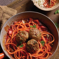 One Pan Sweet Potato Noodles with Meatballs