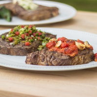 How to Grill Ribeye Steak with Pan Roasted San Marzano Tomatoes