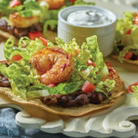 Shrimp Tostadas With Cilantro Cream