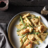 Adobo Shrimp and Asparagus Alfredo with Penne