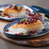 Baked Cod with Spicy Pomegranate Basil Salsa