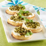 Basil Garlic Pesto Crostini