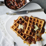 Belgian Waffles with Pecan Pie Syrup
