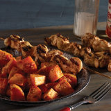 Buffalo Chicken Kabobs with Roasted Ranch Sweet Potatoes