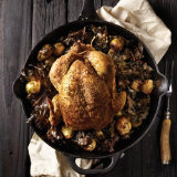 Cast Iron Roasted Chicken on Cruciferous Veggies
