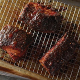 Charred Peach Bourbon Glazed Pork Belly