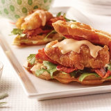 Chicken and Waffle Sliders with Maple Sriracha Mayo