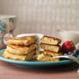 Cornmeal Pancakes with Maple Yogurt Sauce