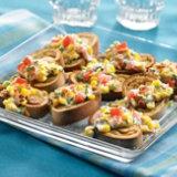 Crab Cake Crostini with Corn and Bacon Salsa